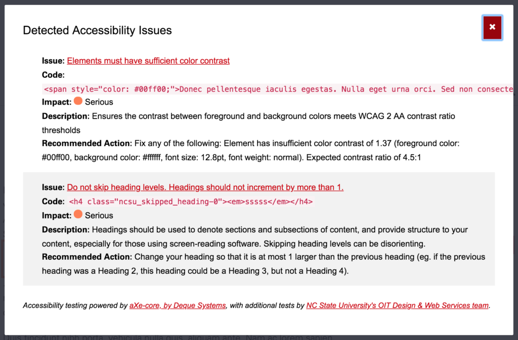 A modal with two detected accessibility issues listed, color contrast and skipped heading levels.