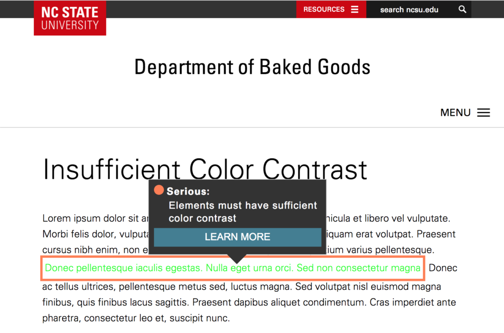 """Webpage with light-green text against a white background. The text is highlighted, and an annotation reads, """"Elements must have sufficient color contrast."""""""