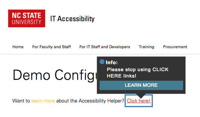 """Text with poor color contrast, but not highlighted by the Accessibility Helper plugin, and an ambiguous """"click here"""" link highlighted with an alternative annotation."""