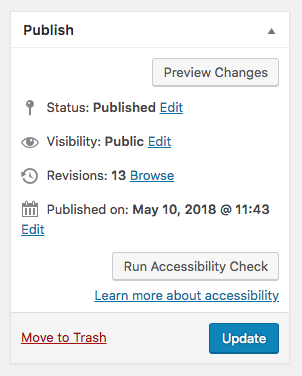 """""""Publish"""" meta box with """"Run Accessibility Check"""" button just above the """"Update"""" button."""