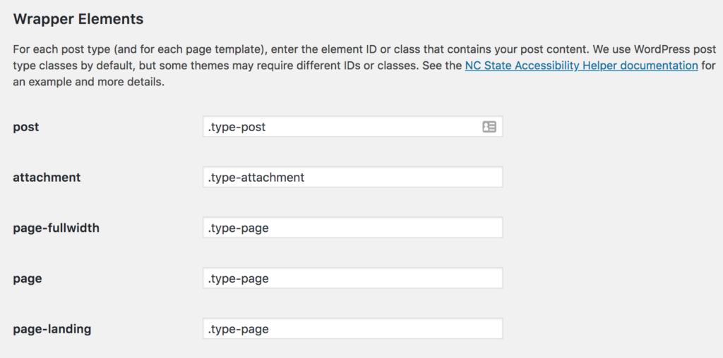 Settings fields for entering the wrapper element CSS ID or class.