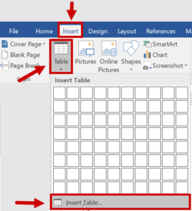 Insert menu open with Table selected and Insert Table highlighted