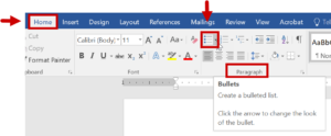 the Paragraph menu in Word with the Bullets icon highlighted