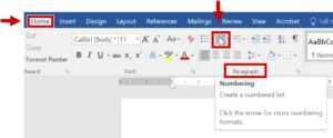 the Paragraph menu in Word with the Numbering icon highlighted