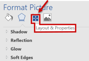 Layout & Properties icon selected from Format Picture menu
