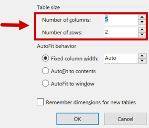 row and column count designation window
