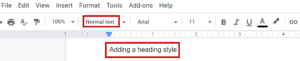 screen shot of how to make text a heading