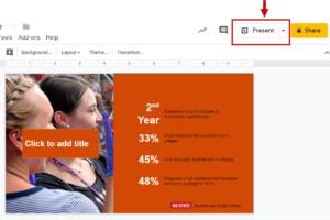Screenshot highlighting the Present button