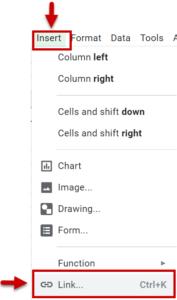 The Link option under the Insert menu