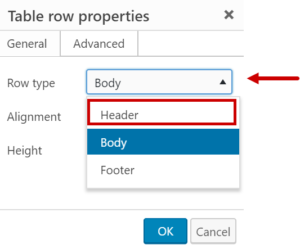 Changing the Row Type from Body to Header