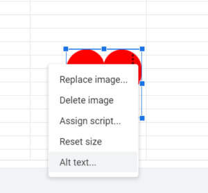 the drop down menu for an image in Excel with Alt Text selected