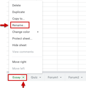 selecting the Essay tab brings up a list of options, from this choose Rename