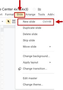 Screenshot of selecting the New Slide menu option under the Slide menu
