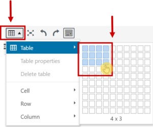 adding a table with 3 rows and 4 columns