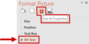 Selecting the Size & Properties Menu and then Alt Text