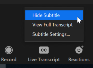 Live Transcript options list
